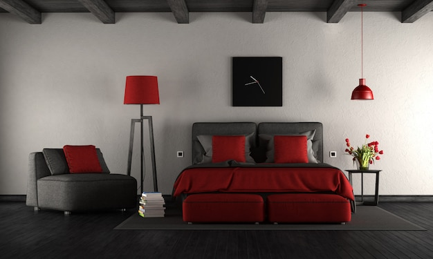 黒と赤のモダンなマスターベッドルーム