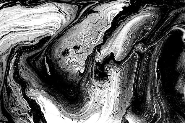 Черно-белый абстрактный мраморный жидкий фон.