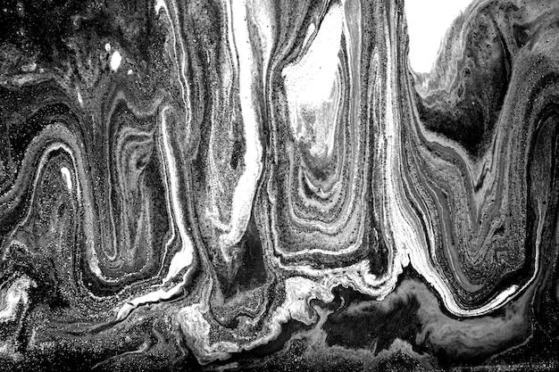 Черно-белый абстрактный мраморный жидкий фон