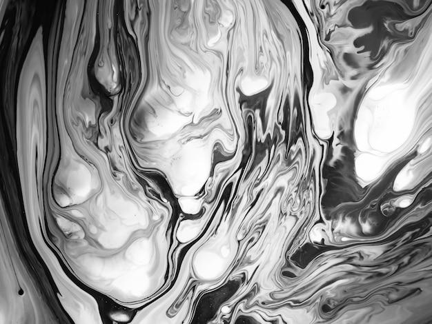 Черно-белая текстура акриловой краски с абстрактными органическими формами для творческого дизайна