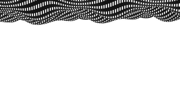 黒と白の背景の波紋シンプルな波波状のグラフィックが川のようにアニメーション化