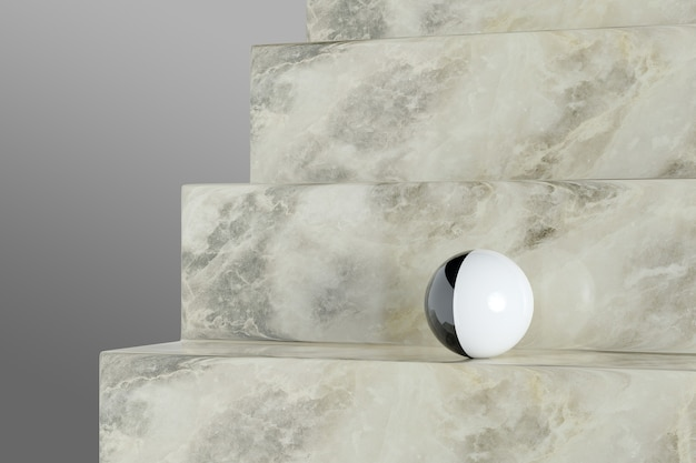 大理石の階段の黒と白のボール。