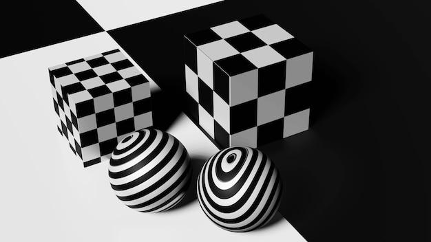 市松模様の表面に市松模様の四角い立方体が付いた黒と白のボール。 3dレンダリング。