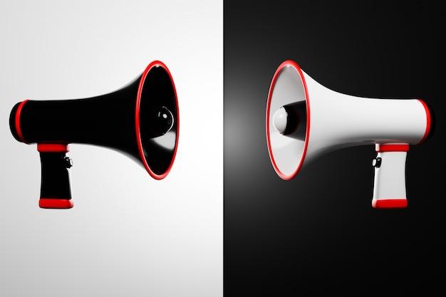 モノクロの背景にある黒と白の漫画スピーカーが向かい合って立っています。メガホンの3 dイラストレーション。広告シンボル、プロモーションコンセプト。