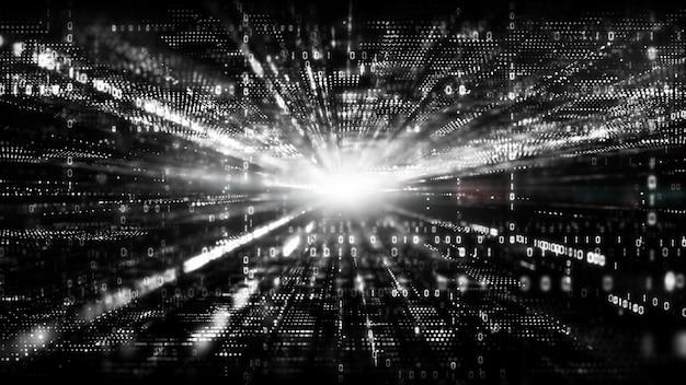 Черно-белое цифровое киберпространство с частицами и цифровыми сетевыми подключениями.