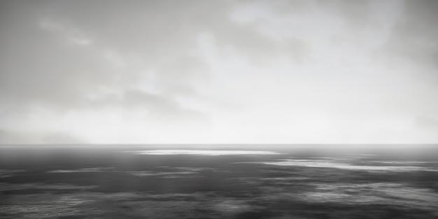 Черно-белый туманный пейзаж