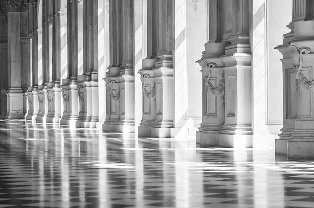 美しい宮殿の黒と白のギャラリー