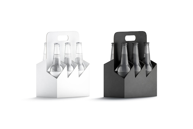 黒と白のガラスビール瓶段ボールホルダーモックアップガラスボトルモックアップ用空のボックスハンドル