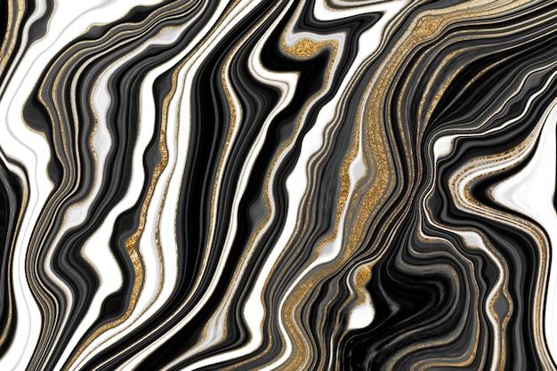 Черно-белое золото прожилками мрамора текстура абстрактный агат рябь фон