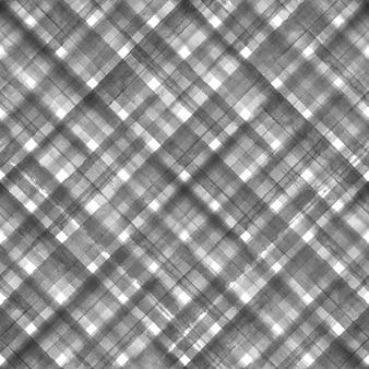 黒と白のグランジギンガムタータンチェック柄斜め抽象的な幾何学的なシームレスパターンの背景。黒のストライプと水彩の手描きのシームレスなテクスチャ。壁紙、ラッピング、テキスタイル、ファブリック