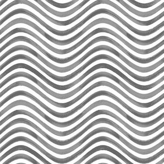黒と白のグランジ波状縞模様の抽象的な幾何学的なシームレスパターンの背景。黒のストライプと水彩の手描きのシームレスなテクスチャ。壁紙、ラッピング、テキスタイル、ファブリック