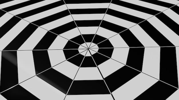 黒と白の六角形の抽象的な背景。3dレンダリング