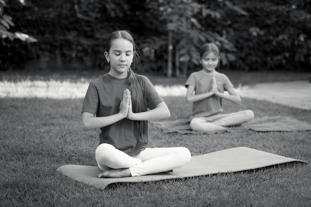 Черно-белое изображение двух симпатичных девушек, практикующих йогу в парке в жаркий солнечный день