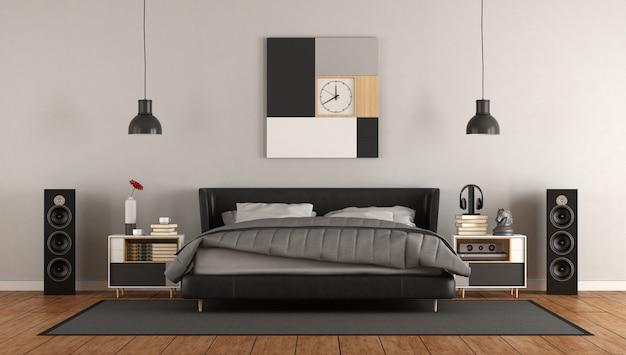 흑인과 백인 현대 마스터 침실