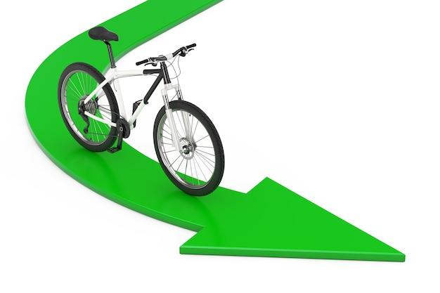 白地にサクセスアローへの緑の方向に黒と白のマウンテンバイク。 3dレンダリング
