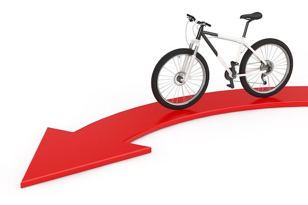 白地にサクセスアローへの赤方向の黒と白のマウンテンバイク。 3dレンダリング