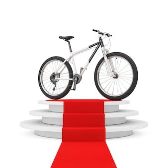 흰색 바탕에 레드 카펫으로 우승자 연단 위에 흑인과 백인 산악 자전거. 3d 렌더링