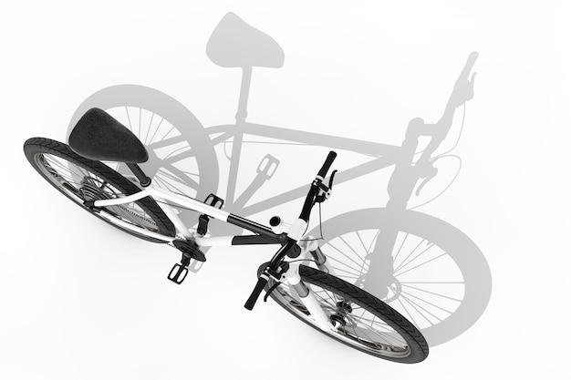 흰색 바탕에 긴 그림자가 있는 흑백 산악 자전거. 3d 렌더링