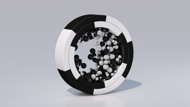 黒と白のリングとガラス玉