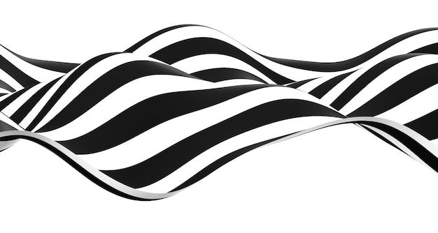 黒と白の波紋シンプルな波波状のグラフィックが川のようにアニメーション化