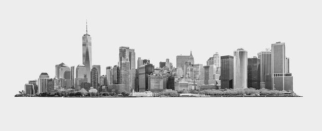 ダウンタウンの金融街とニューヨークのロウアーマンハッタンの黒と白のスカイラインのパノラマ