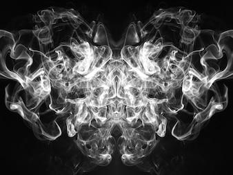 Black and white smoke on black background