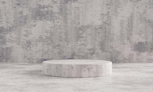 프리젠테이션 모형 템플릿을 위한 흑백 석재 패턴 단일 제품 스테이지 연단입니다. 쇼룸과 추상적인 인테리어 컨셉입니다. 기하학 전시 무대 모형 개념입니다. 3d 일러스트레이션 렌더링