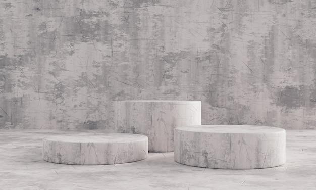 프리젠테이션 모형 템플릿을 위한 흑백 석재 패턴 트리플 제품 스테이지 연단. 쇼룸과 추상적인 인테리어 컨셉입니다. 기하학 전시 무대 모형 개념입니다. 3d 일러스트레이션 렌더링