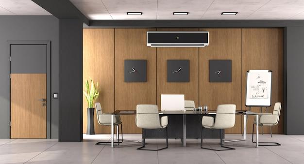 黒と木製のモダンな会議室