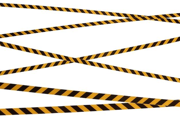 Черные и желтые полосы заградительной ленты запрещают проход. барьерная лента на белом изоляте. барьер, запрещающий движение. предупреждающая лента. предупреждение об опасной опасной зоне: не входить. концепция запрета на въезд