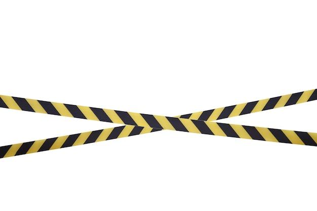 차단 테이프의 검정색과 노란색 선은 통과를 금지합니다.