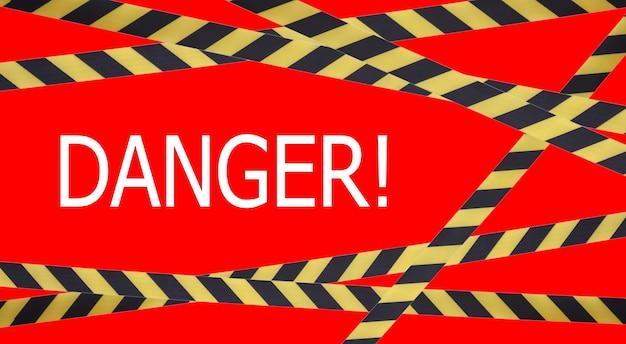 Черные и желтые полосы барьерной ленты с надписью «опасно». барьерная лента на красном изоляте. барьер, запрещающий движение. предупреждающая лента. предупреждение об опасной опасной зоне: не входить. концепция запрета на въезд