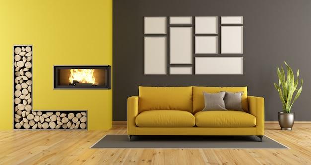 暖炉のある黒と黄色のリビングルーム