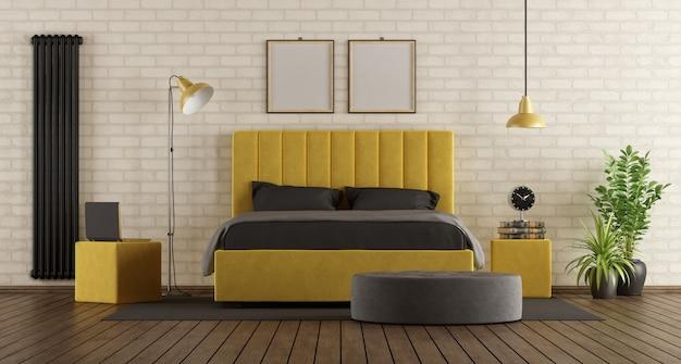 검정색과 노란색 마스터 침실