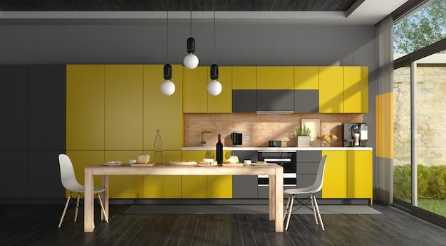 黒と黄色のモダンなキッチン