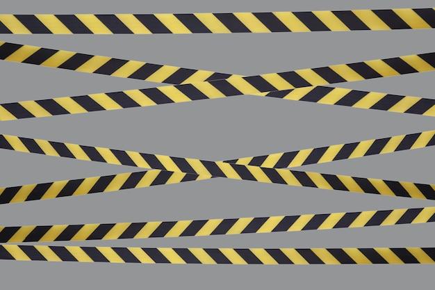 차단 테이프의 검정색과 노란색 경고 라인은 통과를 금지합니다. 회색 절연에 장벽입니다. 교통을 금지하는 교차. 위험 위험 지역 경고는 들어 가지 마십시오. 개념 항목이 없습니다. 공간 복사