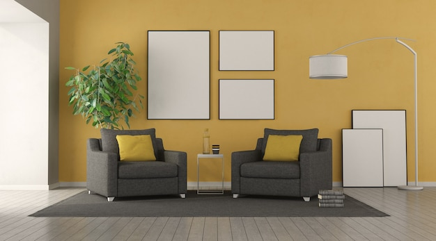 Черное кресло в современной гостиной с желтой стеной. 3d рендеринг
