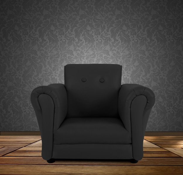 Black armchair.