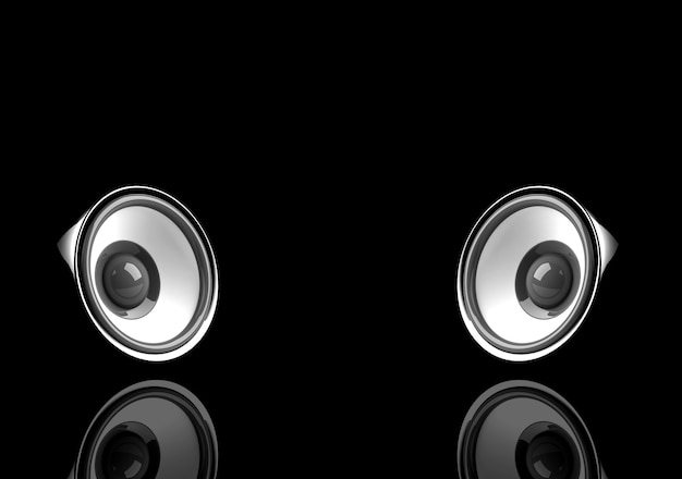 Black audio system with reflection on the black surface