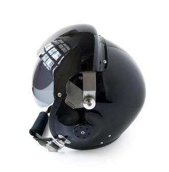 Black aviator helmet isolated on white