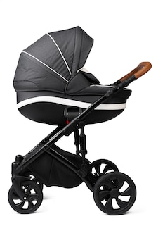 Black baby carriage isolated on a white background