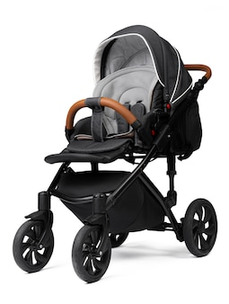 Black baby carriage isolated on a white