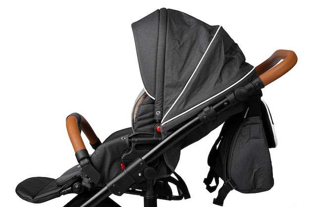Black baby carriage isolated