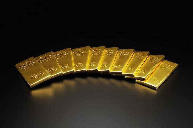 Черный фон и золотые слитки 3d иллюстрация