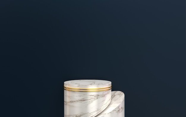 Black background, cylinder marble pedestal, abstract geometric shape group set, 3d rendering, scene with geometrical forms