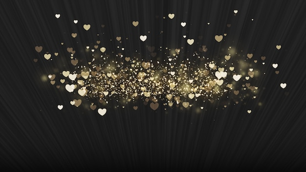 Black background, digital signature with sparkling heart-shaped particles.