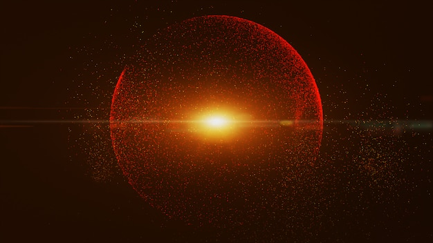 The black background has a small red dust particle that shines in a circular motion, explosion light ray beam.