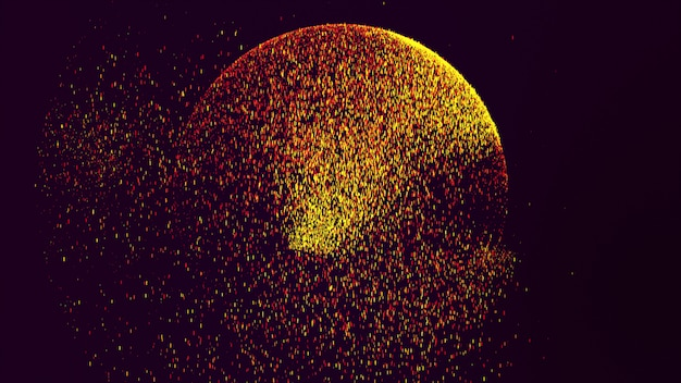 The black background has a small yellow-orange dust particle that shines in a circular motion.