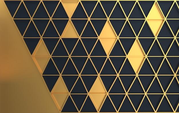黄金の三角メッシュ、3 dのレンダリングで黒の背景