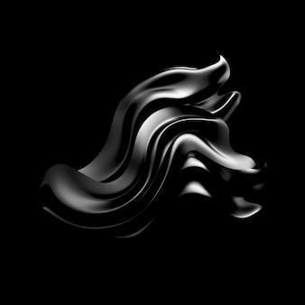 カーテン生地と黒の背景。 3 dイラスト
